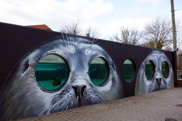 """Street Art Magicさんのツイート: """"Tasso creates a new batch of pieces at the Odense Zoo in Denmark… """""""