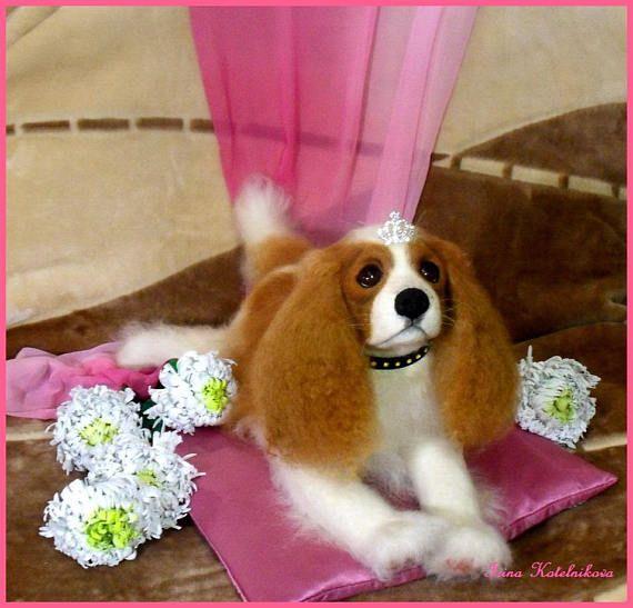 KING CHARLES Spaniel dog lover gift dog art felted dog