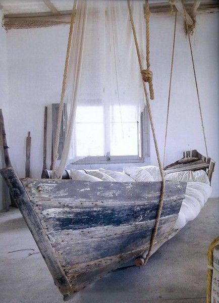 I would love to have one of these!Old Boats, Ideas, Boats Beds, Porch Swings, Hanging Beds, Dreams, Beach Houses, Boy Rooms, Hanging Boats