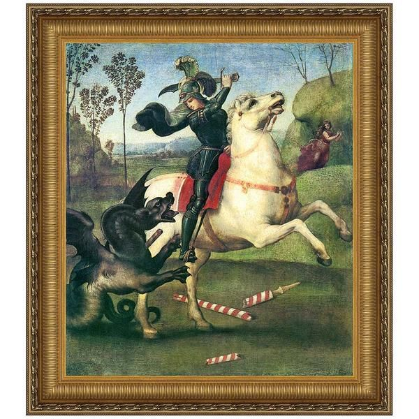The rearing horse and rider's fluttering cape infuse a dynamic energy into this depiction of George, Patron Saint of England and his battle with the fierce paga