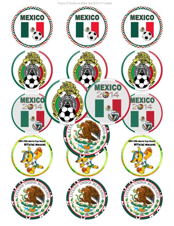 152 Digital Cupcake Toppers Mexico World by BeautifulDigitals, $2.00