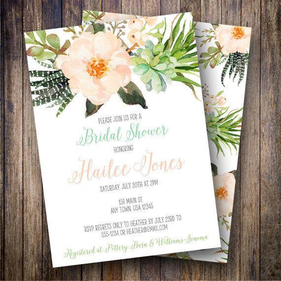 Boho Watercolor Floral Bridal Shower Invite, Printable Succulent Bridal Shower Invitation, Zebra Succulent, Watercolor Flowers, Watercolor Bridal Shower in Blush, Teal, Green - Spotted Gum Design - Etsy