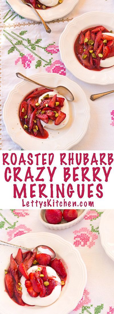 Vegan and gluten free roasted rhubarb crazy berry meringues. Meringues made with aquafaba. This delicious rhubarb, raspberry, and strawberry compote is crazy good, with balsamic vinegar and freshly ground black pepper.