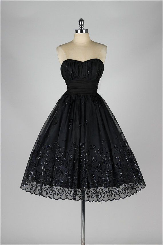 vintage 1950s party dress . black glitter by millstreetvintage