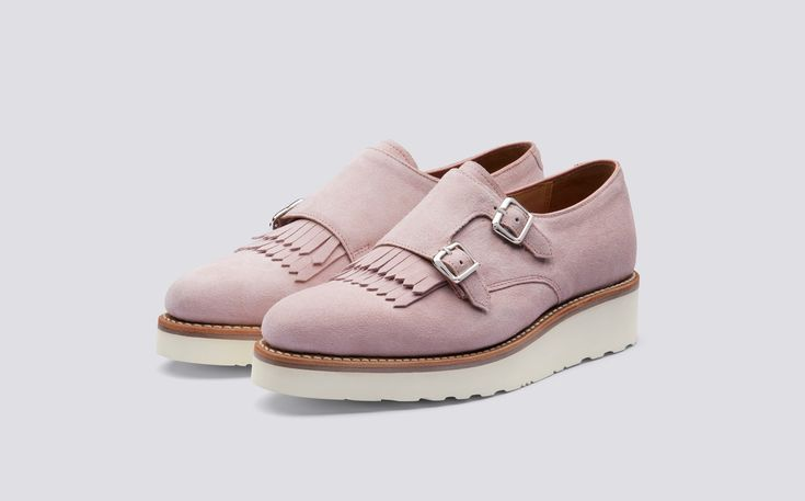 Audrey | Womens Monk Strap Shoe in Lotus Suede with a White Wedge Sole | Grenson Shoes - Three Quarter View