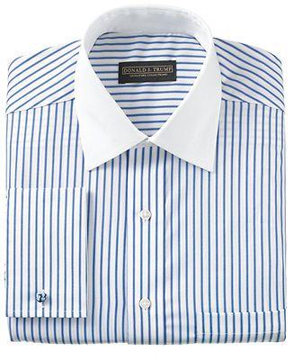 Men's Blue Pinstripe Shirt, White Collar, White Cuffs for Cufflinks. Unisex Adults.
