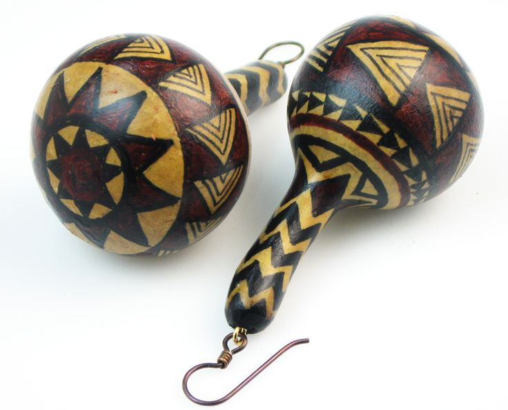 ..African Design Gourd Earrings..