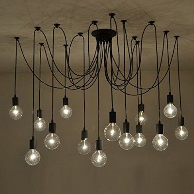 Fuloon - Vintage Múltiple DIY Luz Lámpara de techo E27 Ajustable colgante de iluminación de la Lámpara moderna (14 -- 200CM)