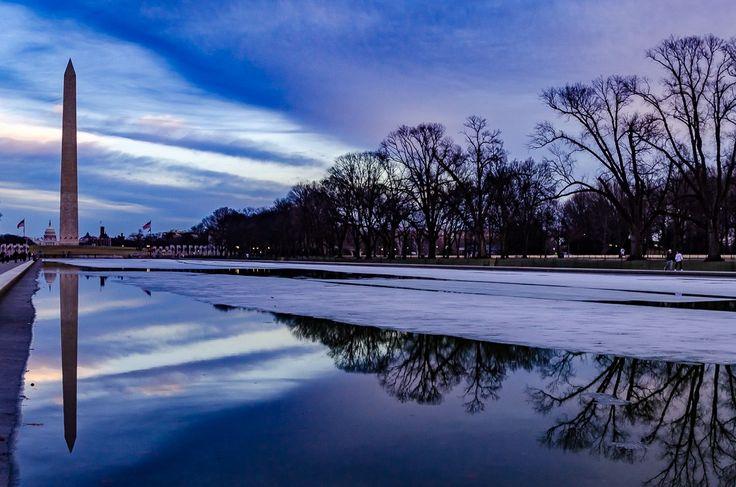 PhotoPOSTcard: Winter Sunset Over the Washington Monument