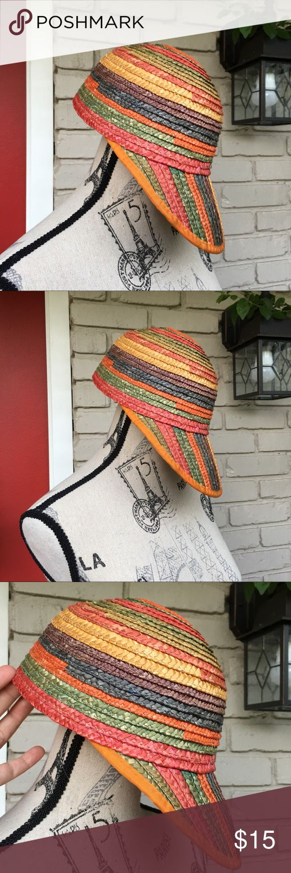 Vintage rainbow straw visor hat Rainbow woven straw visor hat. Torn area on bottom back but still super cute and functional. Vintage Accessories Hats