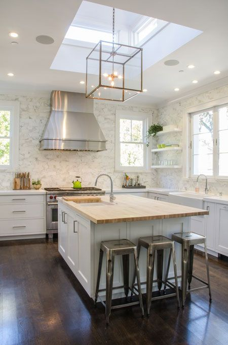 KITCHEN / WHITE / CAGE LANTERN PENDANT / FLOATING SHELVES / EVARS ANDERSON DESIGN