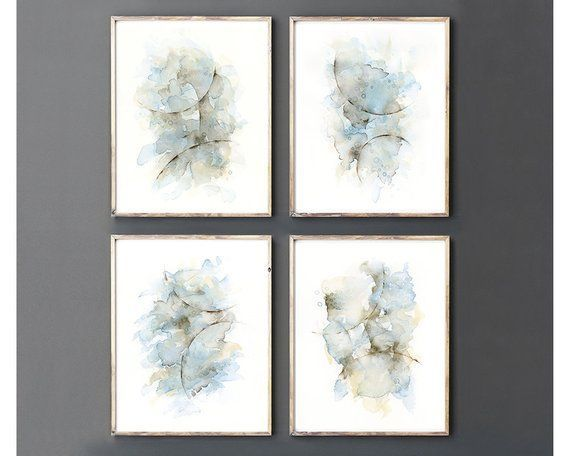 Abstract Art Print Set Of 4 Watercolor Paintings Matching Pictures Rustic Bathroom Wall Decor Blue Gray Bedroom Wall Art Over The Bed Rustic Bathroom Wall Decor Bathroom Art Prints Bathroom Wall Art