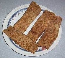 Oatcakes. World famous in Stoke-on-Trent. Made to a secret recipe, they are the most delicious thing on the planet. Yum.