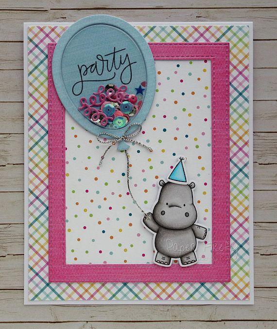Handcrafted Cute Hippo Birthday Card Handmade Party Hippo Card Cute Greetings Card Fun Birthday Card Birthday Cards Diy Birthday Cards 1st Birthday Cards