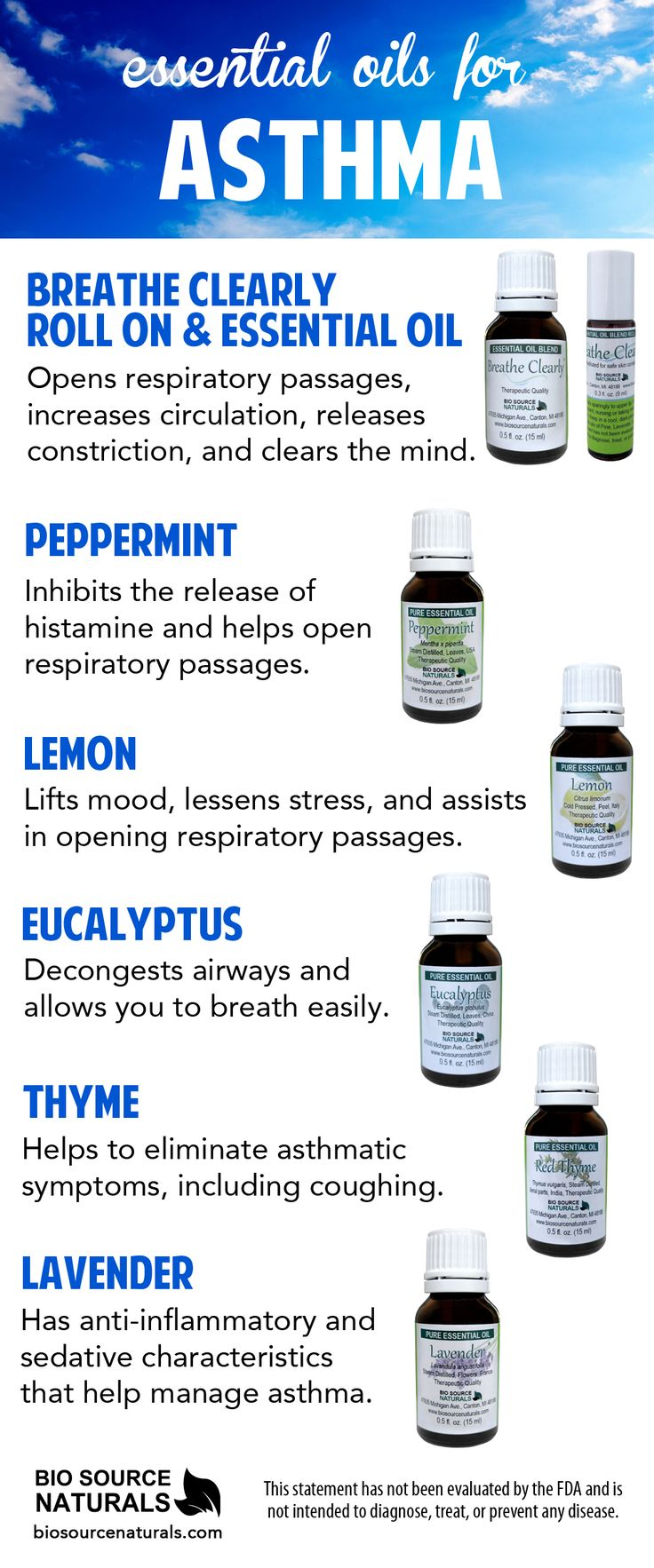 Essential Oils may help reduce the symptoms of asthma. #aromatherapy