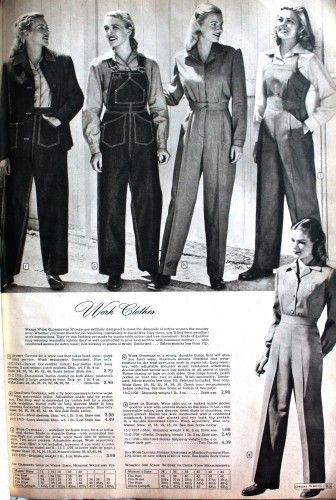 1940s Ladies Workwear Clothes: 1947- Denim jeans, Overalls and Coveralls #WW2 #1940s