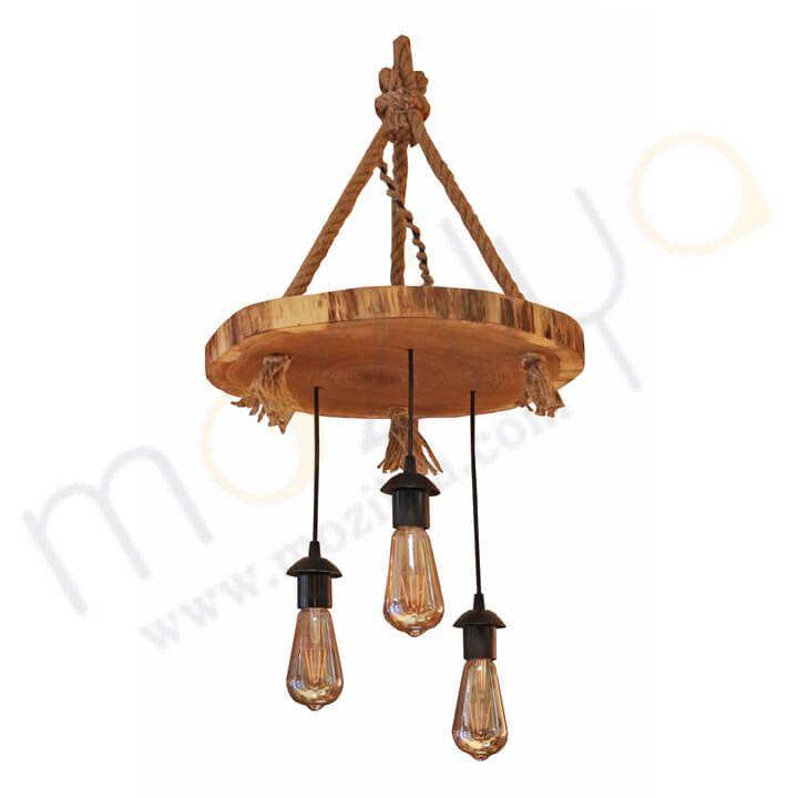Mozilya Doğal Ahşap Gonca Avize  wood wooden lamp lighting unit chandelier www.mozilya.com