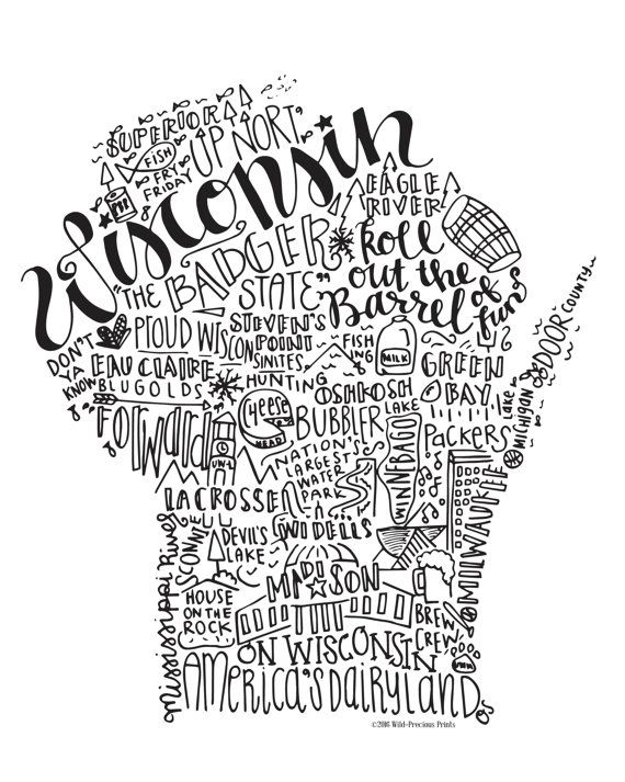 Wisconsin State Print Handlettered State by WildPreciousPrints