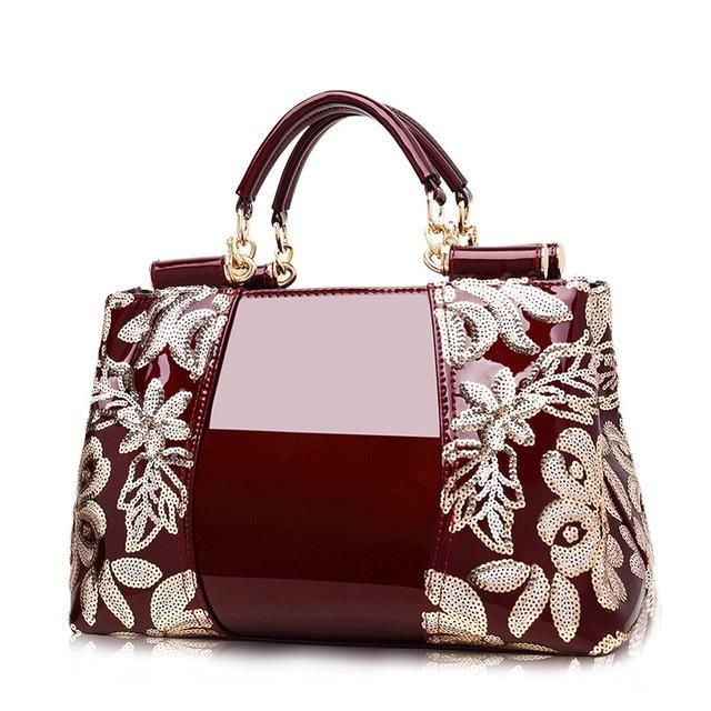 7b90658d7e 2018 new embroidery luxury handbag designer high quality patent leather  ladies office bags handbags women famous brands  LeatherHandbagsProducts