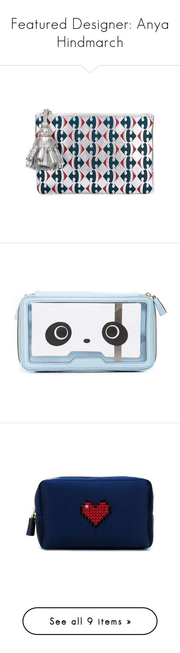 """""""Featured Designer: Anya Hindmarch"""" by modaedit on Polyvore featuring bags, handbags, clutches, anya hindmarch handbags, anya hindmarch purse, anya hindmarch, pouch purse, anya hindmarch pouch, pouch handbags and blue handbags"""