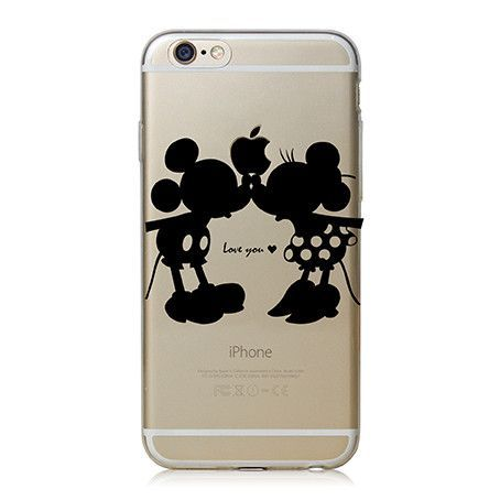 Super Cute Phone Cases for Apple iPhone 4 4S 5 5S 5c 6 6 plus Case Cover Luxury PC Clear Black Mickey&Minnie Kiss L0156