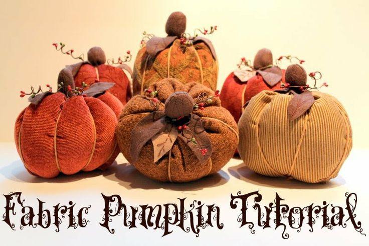 Fall Fabric Pumpkin Tutorial: Fall Pumpkin, Tutorials, Fall Crafts, Fabric Pumpkins, Fabrics, Craft Ideas, Halloween