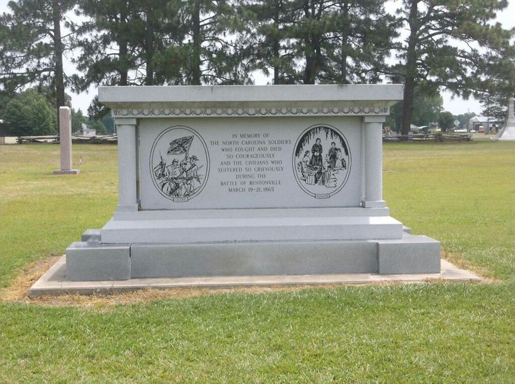 Bentonville Battle ground . A statue in honor of North Carolina troops that fought at Bentonville.
