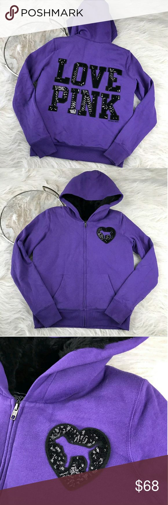 "Victoria's Secret Purple Faux Fur Hoodie Victoria's Secret PINK faux fur Lined hoodie, purple with sequin ""love pink"" on back. Women's size medium, gently used with no flaws.   Length 30""  armpit to armpit 24"" Victoria's Secret Jackets & Coats"