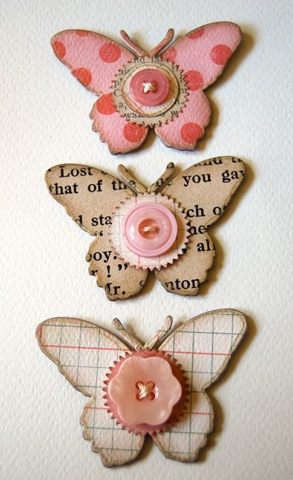 Large Butterfly Embellishments. Die cut chipboard butterflies.