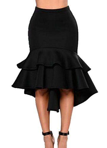 3220a9d860 Cromoncent Womens Casual Bodycon High Rise Solid Color Ruffle Knee Length  Skirts Black Medium -- ** AMAZON BEST BUY ** #SummerOutfit
