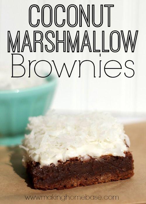 Holiday Desserts: Coconut Marshmallow Brownies #shop #KraftEssentials #holidayrecipes