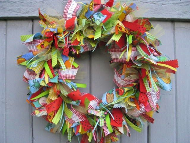 Wreath - Fabric Wreath: Fruit Salad, Ribbons Wreaths, Rag Wreaths, Summer Wreaths, Pink Ribbons, Front Doors Wreaths, Fabrics Wreaths, Popular Pin, Wreaths Ribbons
