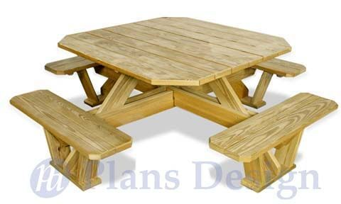 Classic Large Octagon Picnic Table / Bench Plans #ODF07