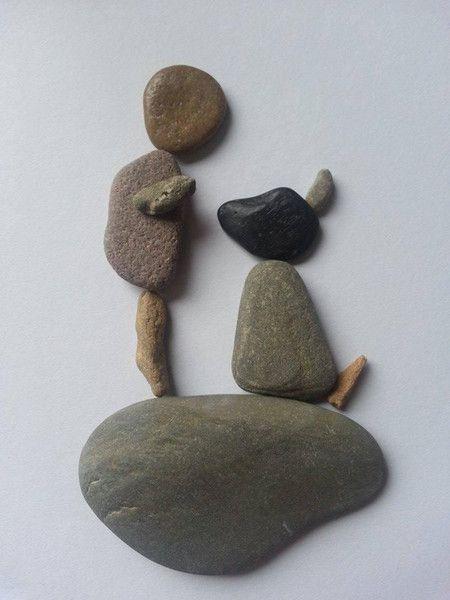Bild aus Kieselsteinen *Kind+Hund* von TAMIKRA auf DaWanda.com