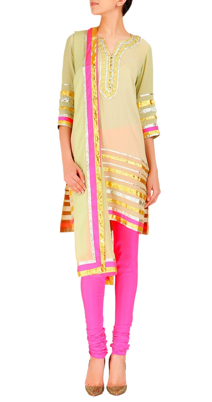 ABU JANI AND SANDEEP KHOSLA  Olive green and pink kurta set