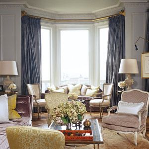 Rivers of gray silk at the windows. I could move right in. : Blue Silk, Colors Combos, Living Rooms, Curtains Rods, Window Shades, Colors Palettes, Colors Combinations, Blue Draping, Gold Curtains