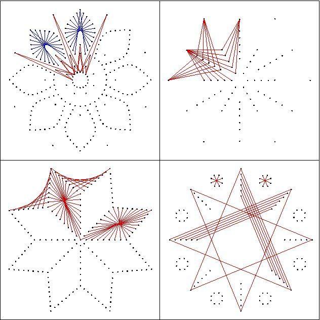vier verschiedene Stern-Motive