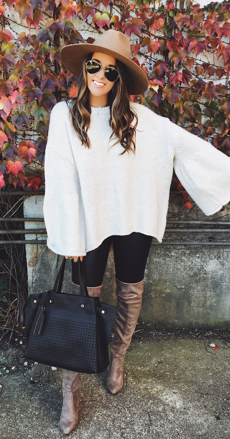 #fall #outfits women's white crew-neck poncho