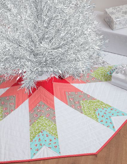 "Don't let all the points in this tree skirt fool you--use quick-and-easy strip piecing to stitch it up quick! ""Skirted"" tree skirt from the book Simply Modern Christmas by Cindy Lammon."