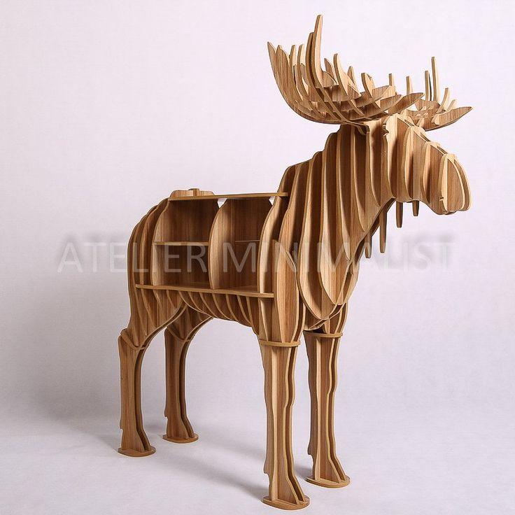 Wooden Moose Shelf