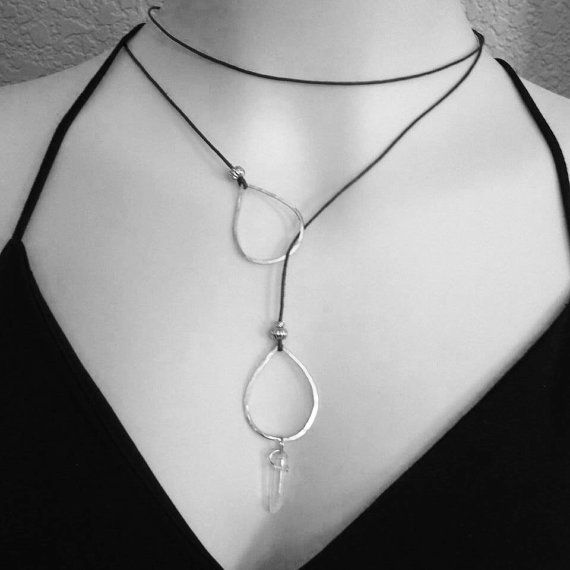 Choker lariat necklace, leather wrap, boho chic, bohemian, hippie chick, choker, biker chick, leather necklace, hoops, sterling