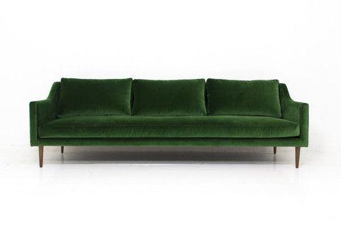 Naples Sofa in Emerald Green Velvet | ModShop