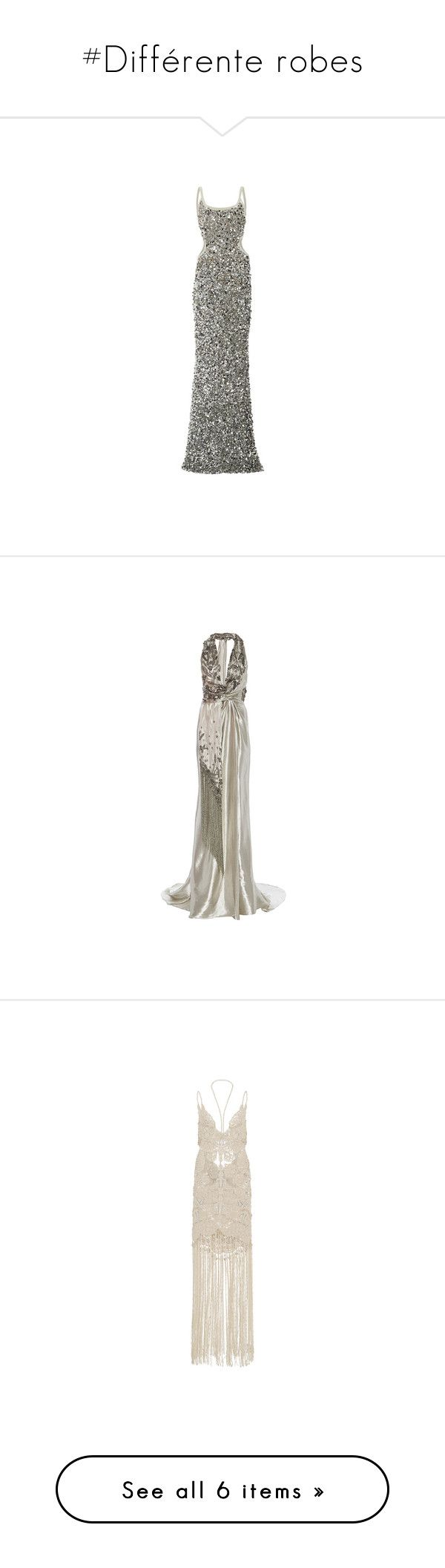 """""""#Différente robes"""" by lolgenie ❤ liked on Polyvore featuring dresses, gowns, cutout dresses, scoop-neck dresses, sequin dresses, full length gowns, full length sequin dress, marchesa, white halter dress and white gown"""