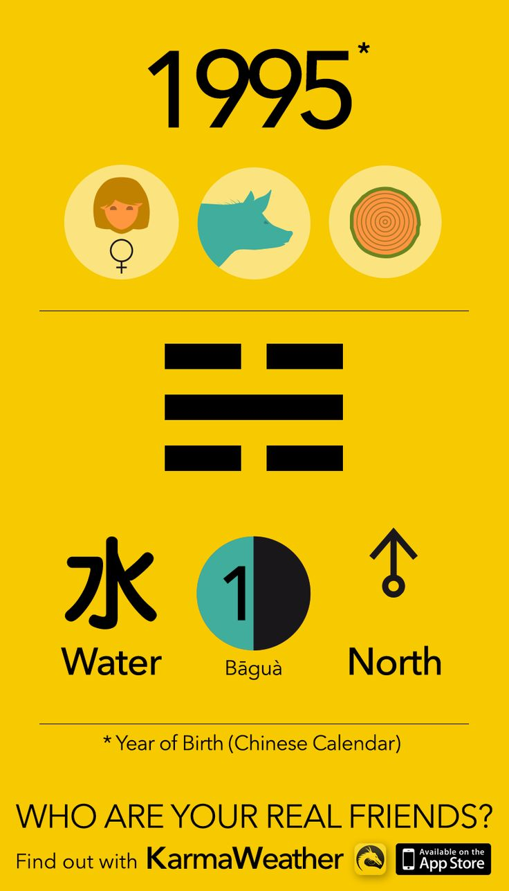 Feng Shui BaGua basics if you're a woman born in 1995 (Chinese zodiac calendar), year of the Wood Pig (Boar), by Karma Weather #KarmaWeather