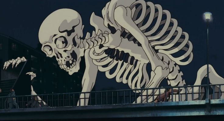 "Screen capture of film Pom Poko. The image showcases Gashadokuro meaning ""starving skeleton"" are mythical creatures in Japanese Mythology. These skeletal giants roam around the darkest hours after midnight, they silently creep up and catch their victims late out on the roads, crushing their victims with its hands or bitting their heads off."