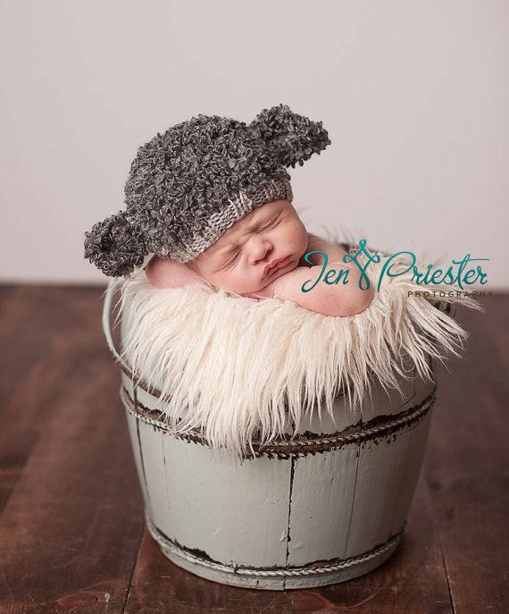 SALE Baby hat lamb sheep hand knit curly hat newborn by baboom $30 made in Australia