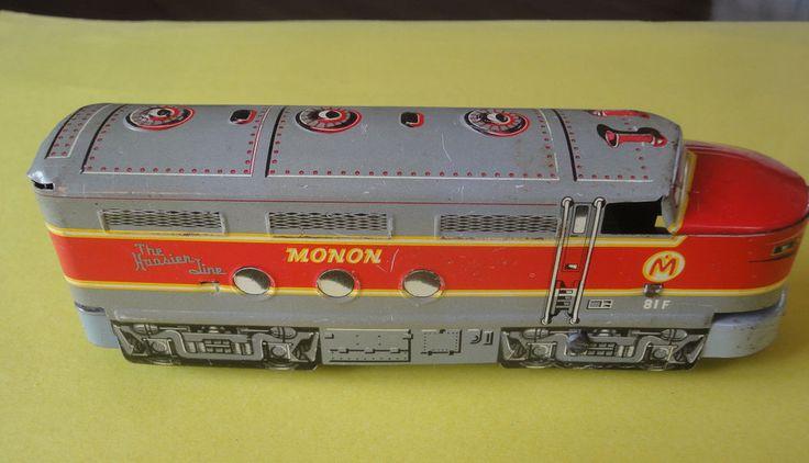 "Vintage Marx Monon Tin Litho Diesel Locomotive The  Hoosier Line No. 81F 8-1/2""  #MarxMonon"