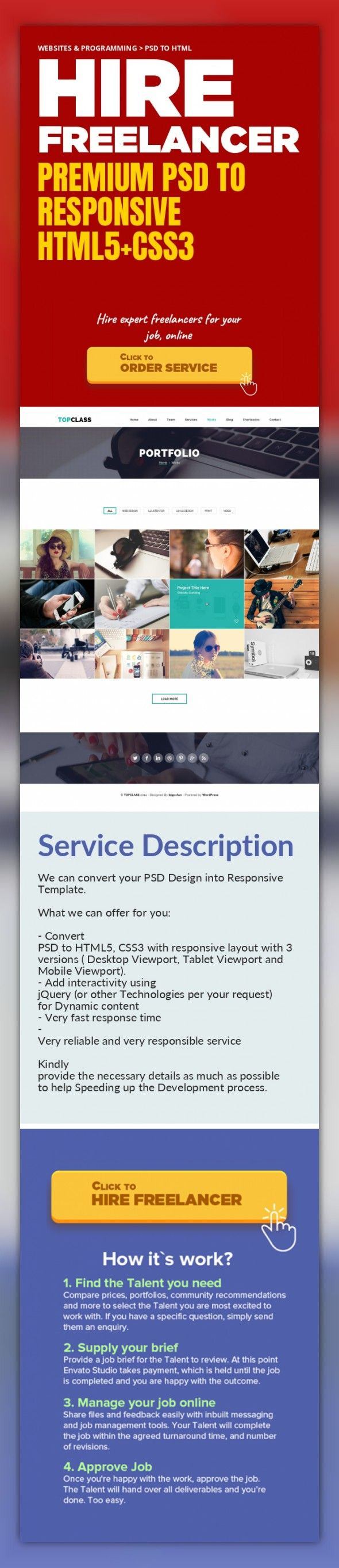 Premium PSD to Responsive HTML5+CSS3 Websites & Programming, PSD to HTML   We can convert your PSD Design into Responsive Template.     What we can offer for you:     - Convert PSD to HTML5, CSS3 with responsive layout with 3 versions ( Desktop Viewport, Tablet Viewport and Mobile Viewport).   - Add interactivity using jQuery (or other Technologies per your request) for Dynamic content   - Very fa...