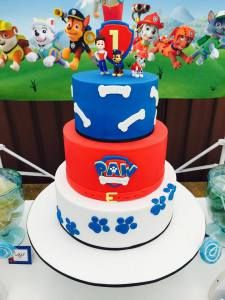 Paw Patrol First Birthday ♥ Paw Patrol themed party backdrop ♥ Paw Patrol themed cookies ♥ Paw Patrol cupcakes ♥ Paw Patrol plush characters ♥ Paw Patrol themed first birthday cake and more! ♥
