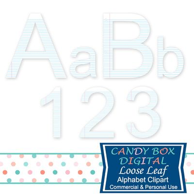 Cute Loose Leaf Alphabet Clipart. Great for teachers, back to school and business uses! Use on announcements, invitations, blogs, websites, scrapbooks, or print out for paper crafts. Candy Box Digital